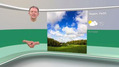 Frank Deboosere 'zweeft' door het beeld tijdens weerpraatje