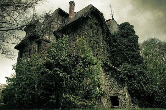 Het door de natuur overwoekerde 'spookkasteel' Nottebohm in Brecht.