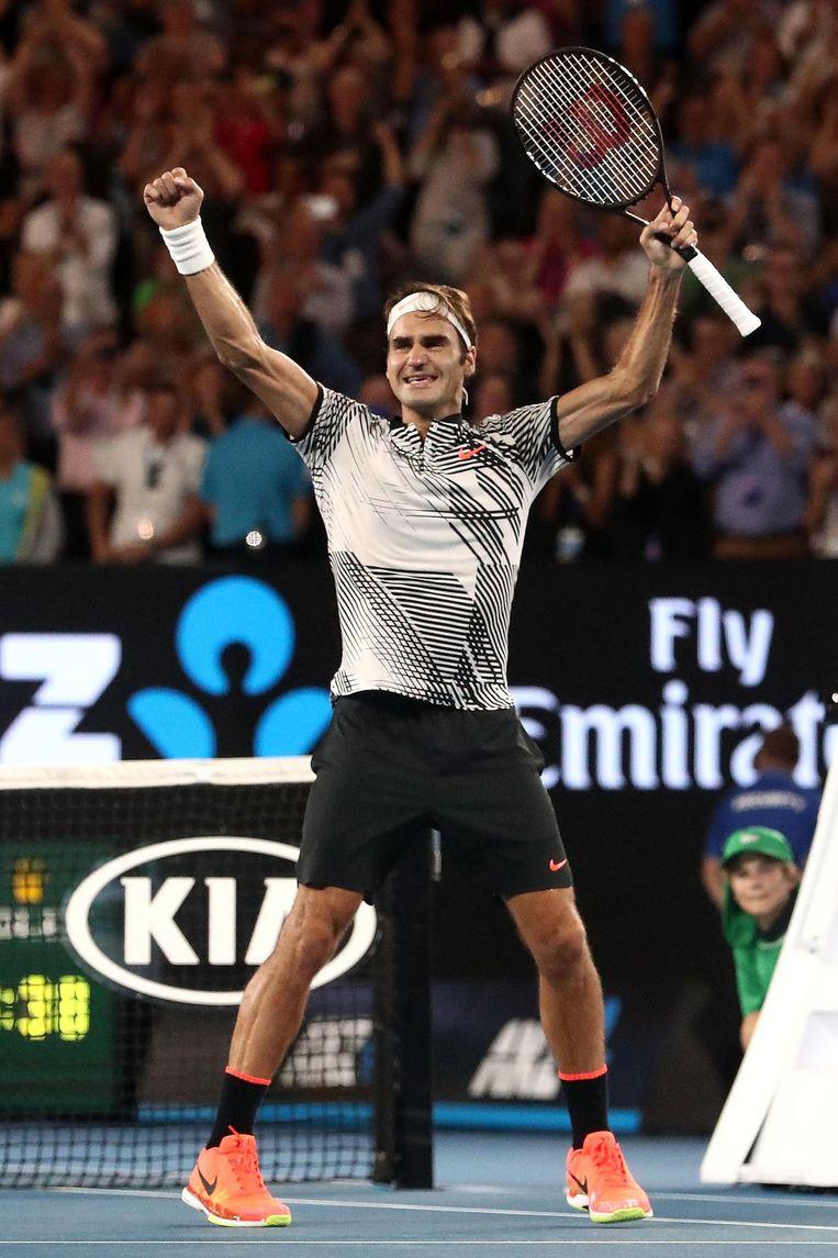 Roger Federer won op 29 januari van dit jaar de Australian Open, door in een vijfsetter van Rafaël Nadal te winnen. Beeld afp