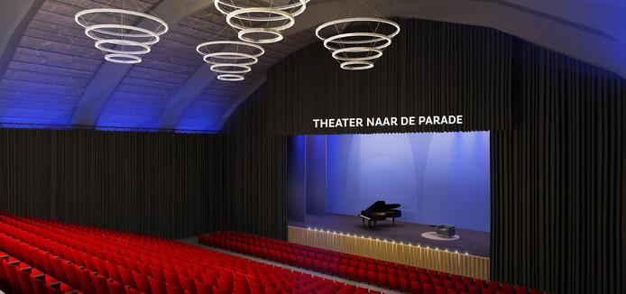 De zaal in het nieuwe tijdelijke theater van Theater aan de Parade  in de Meierijhal op het Brabanthallencomplex in Den Bosch. Foto Libéma