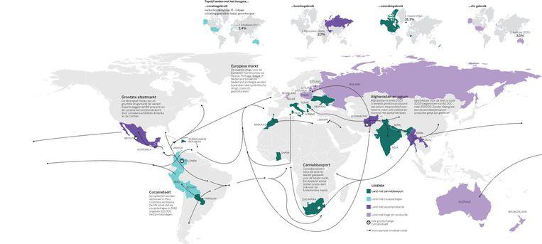 Deze kaart is grotendeels gebaseerd op het World Drug Report uit 2014 van het VN-bureau Drugs en Criminaliteit. Dat maakt een schatting van drugsproductie en -gebruik en baseert zijn informatie over smokkelroutes op onder meer onderschepte drugstransporten en het aantal gedetineerden dat wereldwijd vastzit wegens drugsdelicten. Meer informatie en een uitgebreidere versie van deze kaart op volkskrant.nl/drugskaart Beeld null