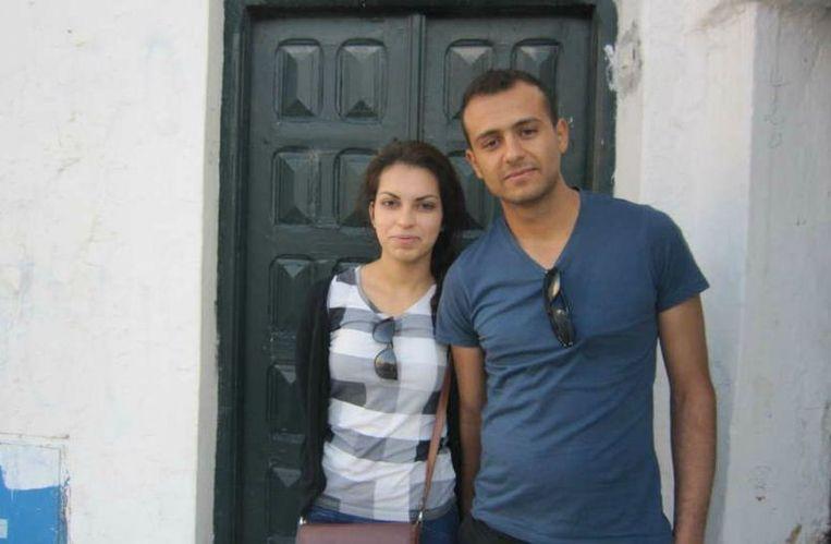 Saif Eddine Zaib (23) en zijn vriendin Ameini. Beeld Marijn Kruk