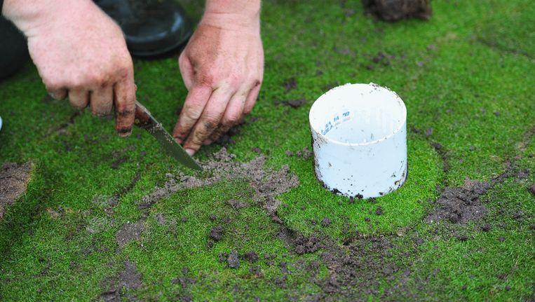 Herstelwerkzaamheden aan de greens in Hilversum. Beeld getty