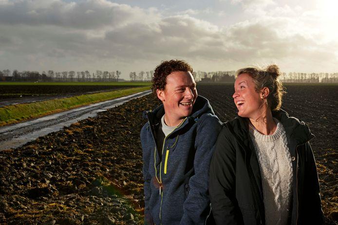Boer Wim Droog uit Marknesse met zijn vriendin Marit.