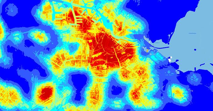 Ter illustratie: deze kaart van Amsterdam geeft het stedelijk hitte-eiland effect (UHI) weer in °C. Dit is het gemiddelde luchttemperatuursverschil tussen de stedelijke en omliggende landelijke gebieden.