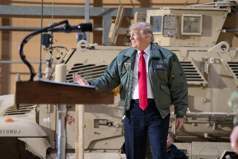 Donald Trump ging vorige week op bezoek bij de Amerikaanse troepen in Irak.