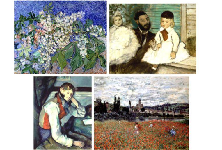 De gestolen olieverfschilderijen: 'Bloeiende kastanjetak' uit 1890 van Van Gogh, 'Graaf Lepic en zijn dochter' uit 1871 van Edgar Degas, 'Knaap met het rode vest' uit 1894/95 van Cézanne, en 'Klaprozen nabij Vetheuil' uit 1880 van Monet. (AFP) Beeld
