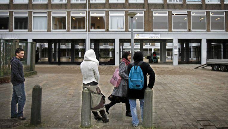 Het gesloten islamitisch college aan de aan de Jacob Geelstraat 38 in Slotervaart. © ANP Beeld