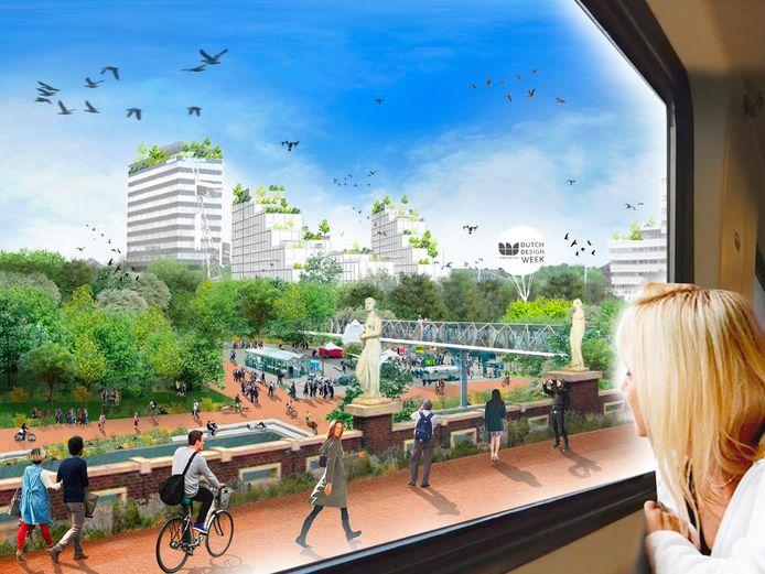 Het groene plein dat busstation Neckerspoel in Eindhoven zou kunnen vervangen volgens het plan dat team Urban Arcipelago maakte voor de ontwerpstudie Stad van de Toekomst. Hier kijkt de lezer van uit de trein naar Neckerspoel met veel groen, water en ruimte voor evenementen.