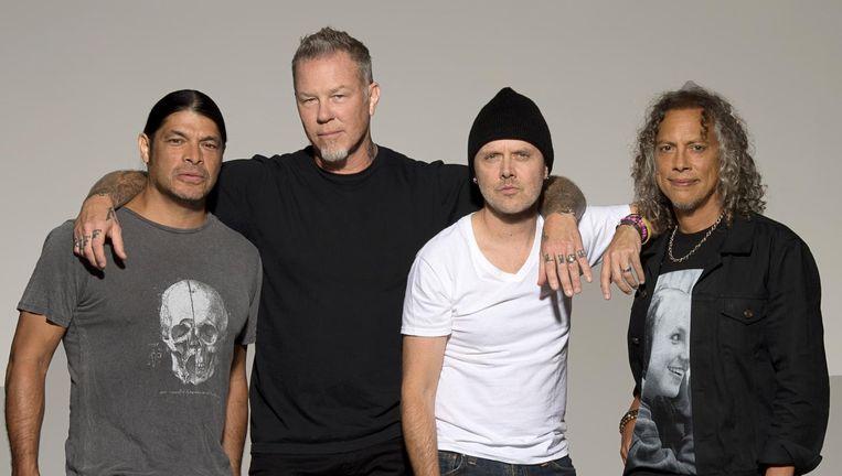 Metallica anno 2016. Vanaf links: Robert Trujillo, James Hetfield, Lars Ulrich, Kirk Hammett. Beeld