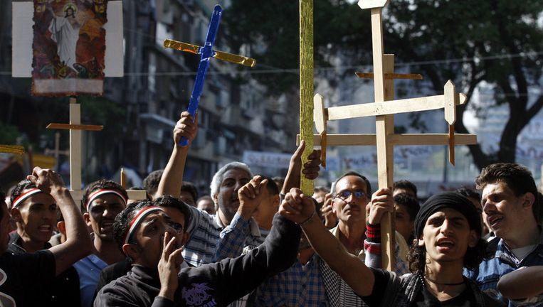 Egyptische christenen protesteren in Caïro. Beeld ap