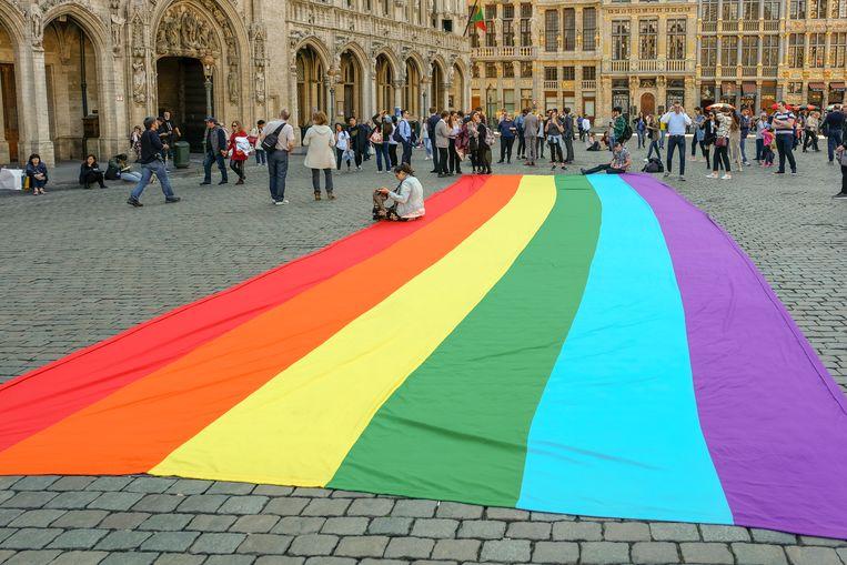 Regenboogvlag op de Grote Markt kondigt het festival aan
