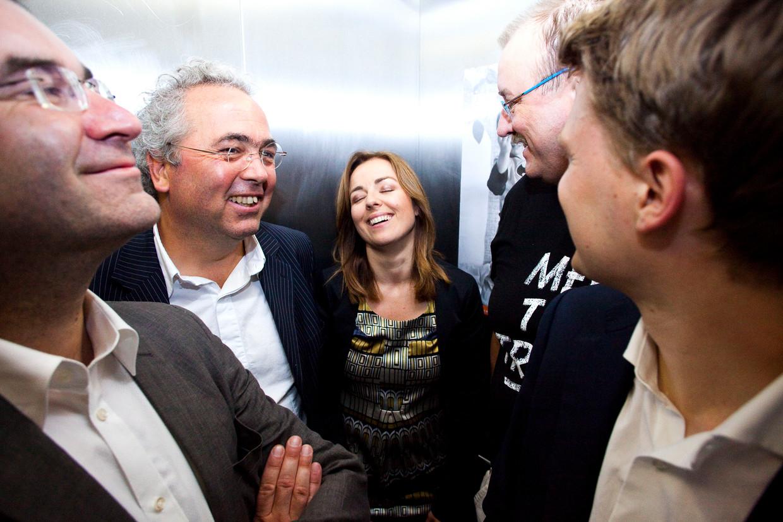 Koffeman (tweede van links) met onder anderen Marianne Thieme nadat de Partij voor de Dieren in 2009 een zetel haalde in het Europees Parlement. Beeld Hollandse Hoogte
