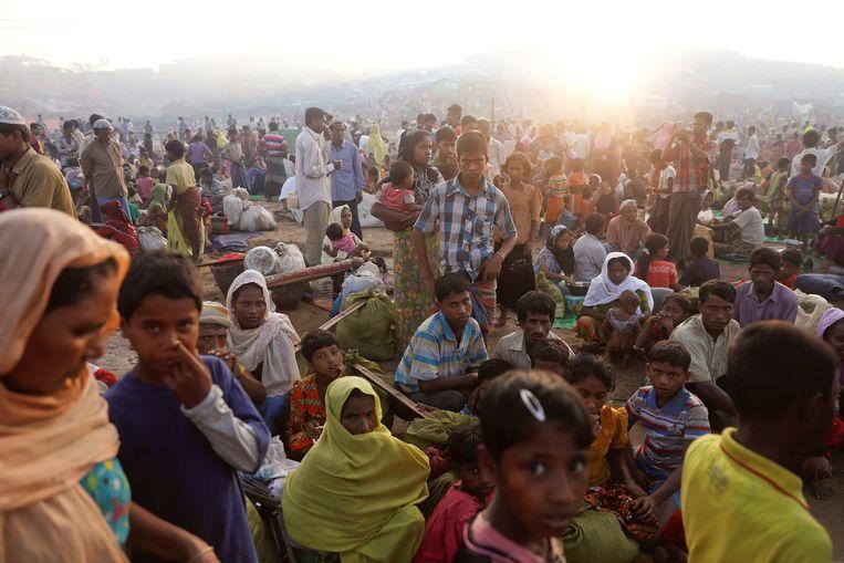 Rohingyavluchtelingen uit Myanmar in een Bengaals vluchtelingenkamp.