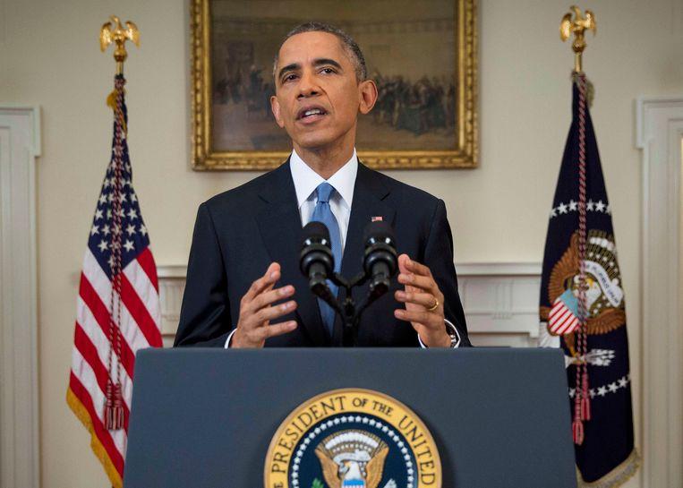 Obama tijdens zijn toespraak vandaag. Beeld REUTERS