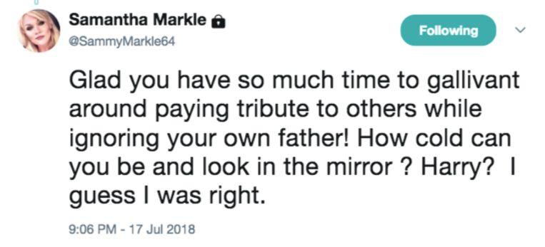 Samantha Markle laat zich op Twitter uit over haar halfzus Meghan