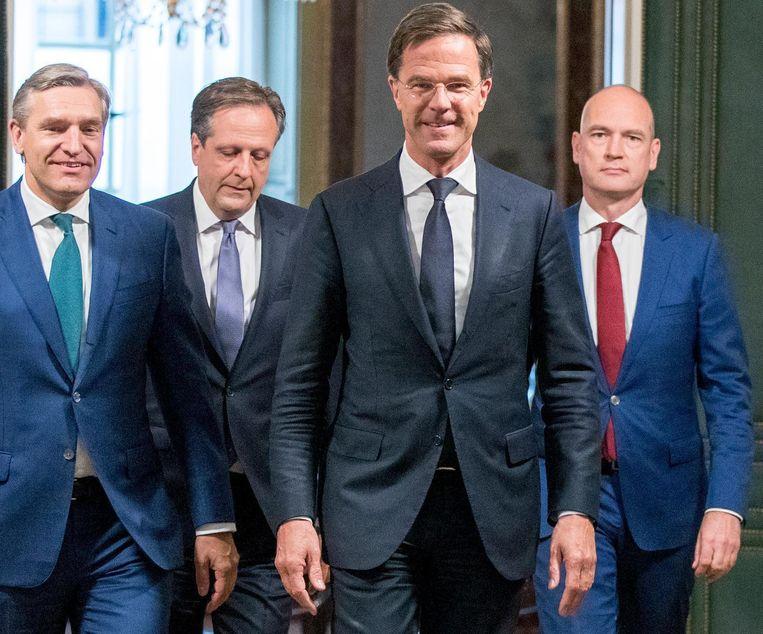 De toenmalige partijleiders Buma, Pechtold, Rutte en Segers in 2017 bij de presentatie van hun regeerakkoord. Beeld ANP