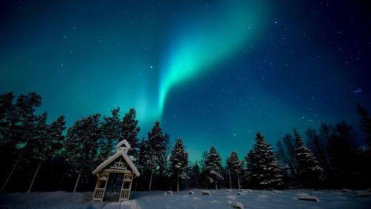 Het poollicht boven Noorwegen. Beeld