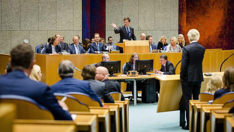 Het voltallige kabinet in Vak K tijdens de Algemene Beschouwingen van vorig jaar. Beeld anp