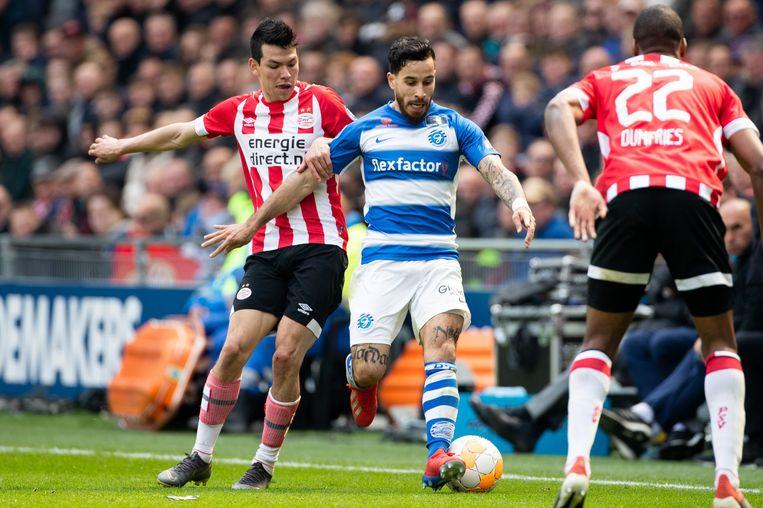 Hirving Lozano (links) van PSV in duel met Jordy Tutuarima van De Graafschap. Beeld VI Images