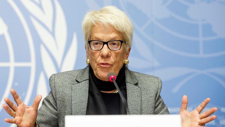 Carla del Ponte op een persconferentie van de VN over de oorlog in Syrië. Beeld ap