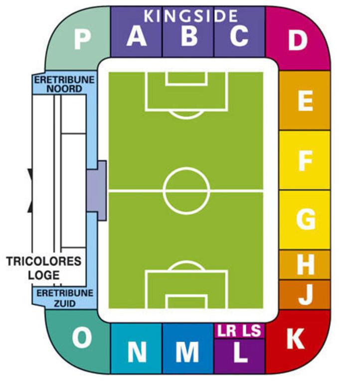 Plattegrond Koning Willem II Stadion.