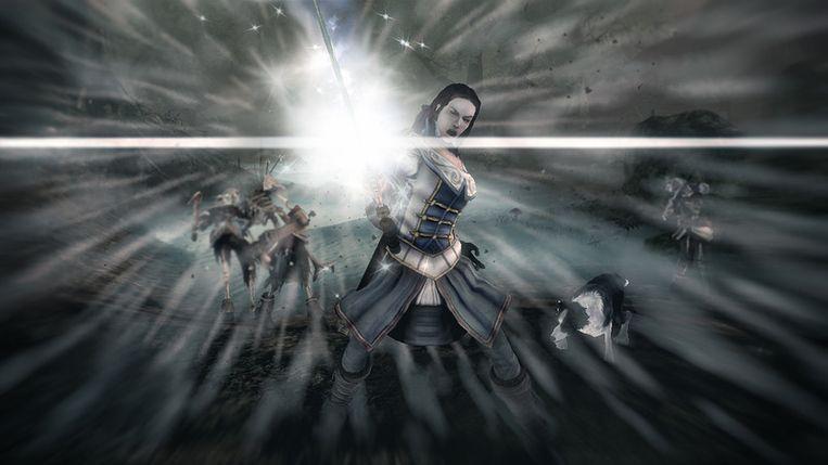 In Fable 3 vechten de hoofdrol spelers met het blanke zwaard en magische krachten. (Beeld Microsoft) Beeld