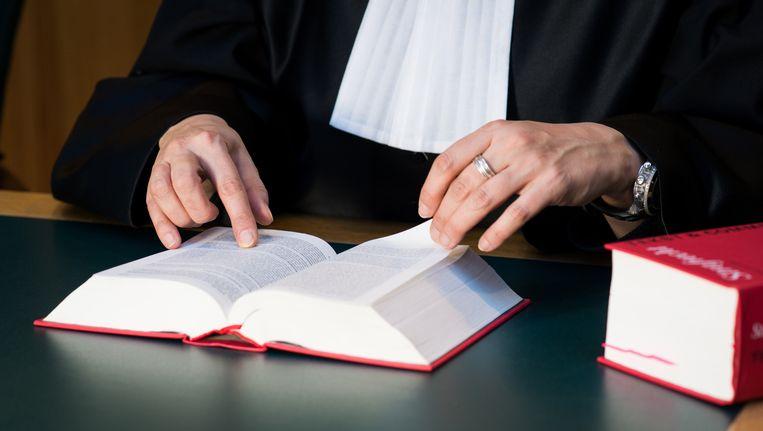 Een rechter met wetboek in de rechtszaal. Beeld anp