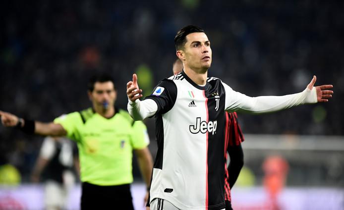 Cristiano Ronaldo tijdens Juventus - AC Milan twee weken geleden.