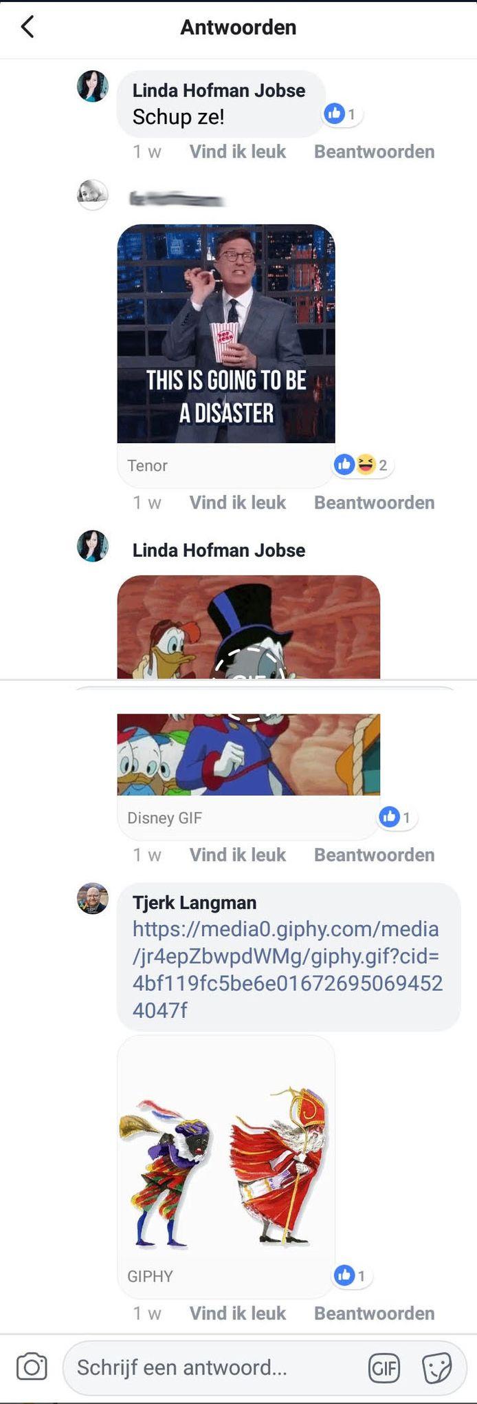 Screenshot van het Facebook-bericht van Linda Hofman.