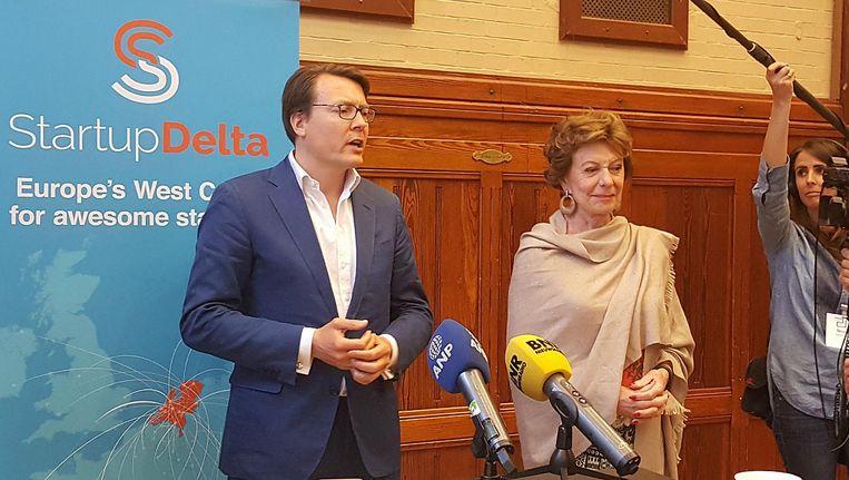 Prins Constantijn en Neelie Kroes bij zijn benoeming als ambassadeur van StartupDelta 2020/ Beeld