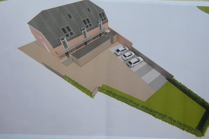 Het ontwerp van Patrick van Grinsven van Interfame Architects voor Dorpshuis De Kei.