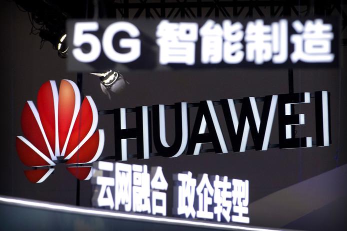 Een Huawei-reclame voor 5G afgelopen september in Beijing.
