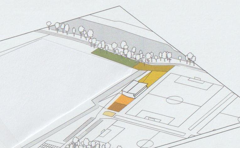Rood: theaterkuil. Oranje: veranda. Lichtgeel: kampeerveld. Donkergeel: veld voor spellen. Groen: natuurspeeltuin.