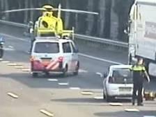 A16 bij Kralingen weer open na ongeluk met vrachtwagen en motor
