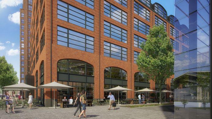 Plan-T met op de achtergrond het woongebouw aan het Burgemeester Stekelenburgplein. Rechts de nieuwe fietsenstalling.