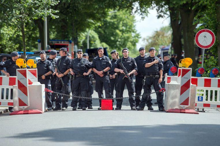 De beveiligingsmaatregelen rond het gasthuis van de Hamburgse Senaat zijn in elk geval groot.