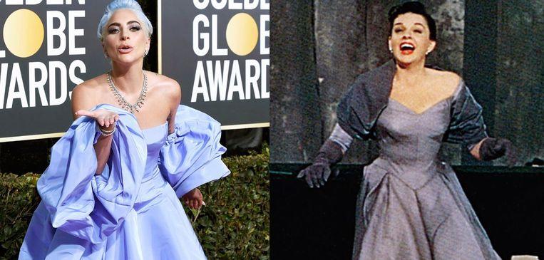 Lady Gaga geeft een knipoog naar Judy Garland met haar Golden Globes-jurk.