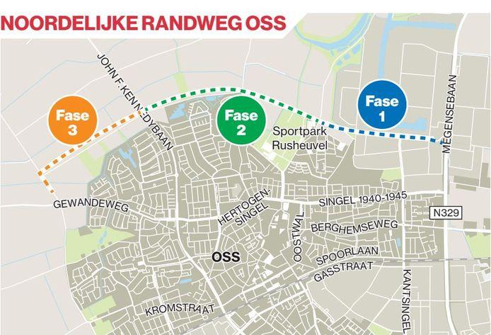 De ringbaan wordt aangelegd in drie fases. Van oost naar west.