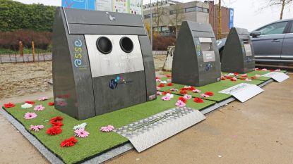 Plastic bloemen houden sluikstorters weg van afvalcontainers