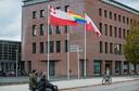 "t.b.v. de Gelderlander DGFOTO / de ValleiRhenen 11/10/2017 regenboogvlag gemeentehuis t.g.v. ""Coming Out Dag"" opdrachtnr. foto: Herman Stöver t.b.v. de Gelderlander DGFOTO / de Vallei"