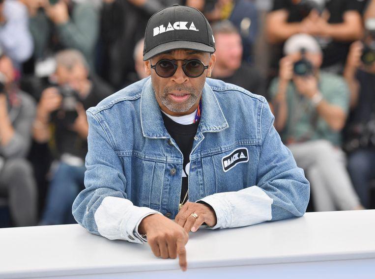 Regisseur Spike Lee op 15 mei bij een foto-gelegenheid voor BlacKkKlansman, bij de 71-ste editie van het Cannes Film Festival. Beeld null