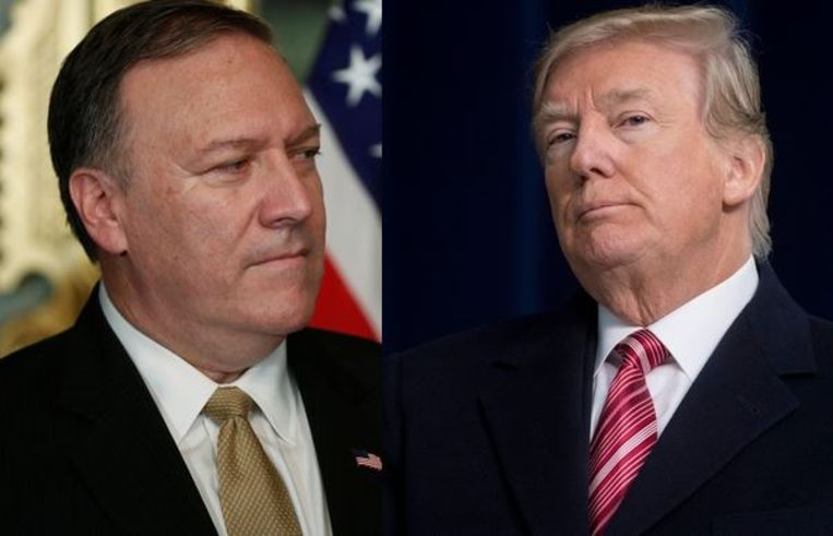 CIA-baas Mike Pompeo (links) en de Amerikaanse president Trump (rechts).