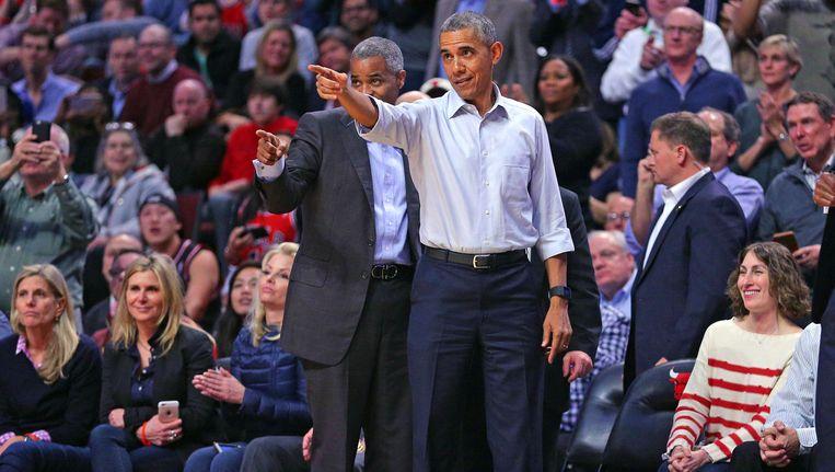 President Obama tijdens de wedstrijd vorig jaar. Beeld Reuters
