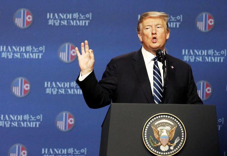 President Trump op de persconferentie na de abrupt beëindigde top met de Noord-Koreaanse leider Kim Jong-un in Vietnam, 28 februari.  Beeld EPA