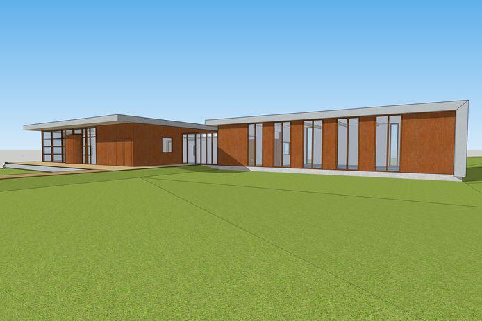 Artist Impression van de bijbouw van het Informatiecentrum Canadese Begraafplaats Holten. Eind februari moet de inrichting van het gebouw klaar zijn.