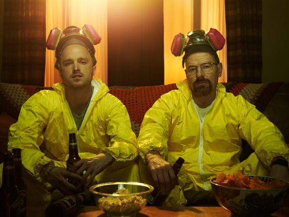 Jesse Pinkman (Aaron Paul) en Walter White (Bryan Cranston) in de serie 'Breaking Bad'.