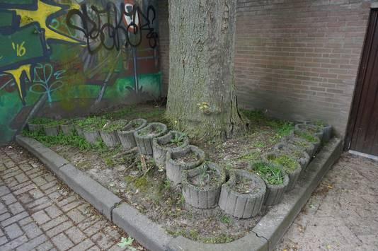 De boom brengt schade toe.