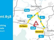 File op A58 tussen Eindhoven en Tilburg: 'Beter omrijden'