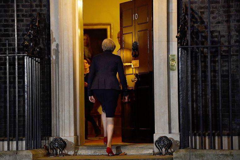 May na het geven van een verklaring voor Downing Street 10.  Beeld REUTERS